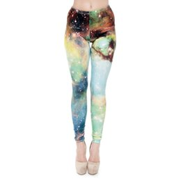 Leggings Skinny Galaxy Pas Cher-Jambières de femmes Green Galaxy 3D Graphic Full Print Fille Skinny Stretchy Yoga Wear Pants Gym Fitness Pencil Fit Runner Soft Trousers (J30802)