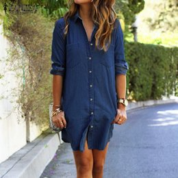 Les Sommets Des Femmes En Gros Pas Cher-Vente en gros- ZANZEA Femmes Mini-robe 2016 Automne Casual Longues Chemises à manches longues à manches Robes Denim Vestidos Long Tops Hot Sale