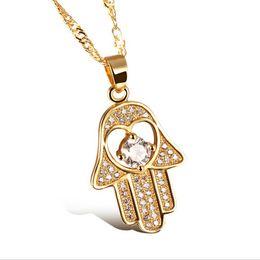 $enCountryForm.capitalKeyWord UK - Fatima Hand Pendant Necklaces Antique Yellow Gold Platinum Plated Women Man Religious Hot Fashion Hamsa Hand Jewelry