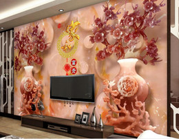 Anti Flower NZ - 3d mural wallpaper custom wallpaper for walls 3 d Jade flower vase plum blossom wall paper mural 3d nonwoven wallpaper