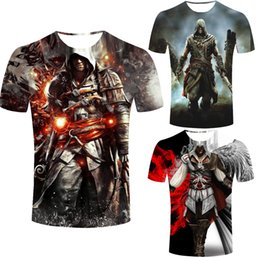 T-shirt Credo Pas Cher-Vente en gros-Assassins Creed Men t-shirt Male Assassin à manches courtes costume hommes noir drapeau t-shirt