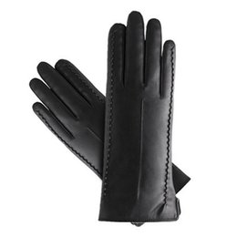 Chinese  Wholesale- 16 women girl faux leather soft touch screen smart fashion show dress warm winter new year gift girlfriend gloves mittens manufacturers