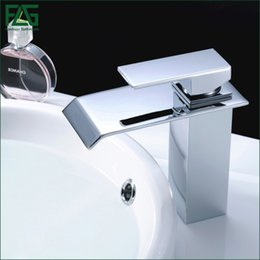 FLG Waterfall Bathroom Faucet Chrome Cast Bath Tap Cold Hot Deck Mounted  Square Vessel Faucet Sink