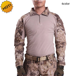 $enCountryForm.capitalKeyWord Canada - Wholesale ESDY Outdoor Brand Camouflage Long Sleeve Frog Suit Men Tops Tactical Tool Cargo t Shirt Army Military Combat Tee 7 Color