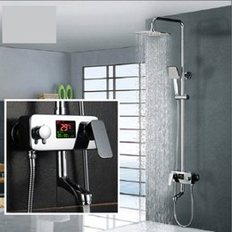Contemporary Metal Wall Australia - Digital Display Shower Faucet Water Powered Digital Display Shower Set Wall Mounted 8 Inch Rain Shower Head Tub Mixer Faucet