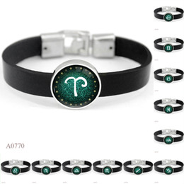 Tibetan Silver Bracelet For Men NZ - ANTIQUE Tibetan Silver Sagittarius Libra Virgo Twelve constellations Charm Glass Cabochon Leather Bracelets For Women Men Bracelet Jewelry