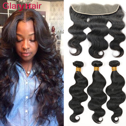 18 inch human hair for 2019 - Brazilian Hair Bundles Body Wave brazilian virgin hair lace frontal closure and 3 bundles remy human hair extensions wef