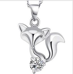 Cheap heart Chains online shopping - 925 Sterling Silver Plated Fox Necklace Love Cubic Zircon Fox Pendant Bohemian Animal Charm Necklace Pendant for Women Brand Cheap