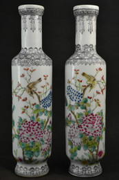 $enCountryForm.capitalKeyWord Canada - Chinese Porcelain Hand-Painted flowers Old Porcelain Drawing Flower & Look At Each Other Bird Rare Lucky Pair Vase