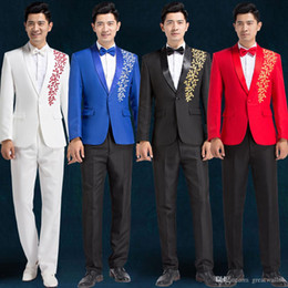 Mens Red Tuxedo Jacket Canada - 100%real mens royal blue red black white leaf embroidery tuxedo suit  wedding studioance stage performance jacket with pants.