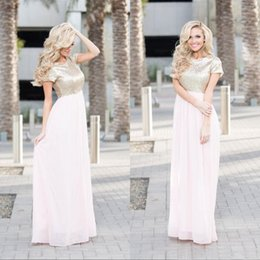 $enCountryForm.capitalKeyWord Canada - Popular 2017 Light Gold Sequin Top Light Pink Chiffon Bridesmaid Dresses Long Cheap Short Sleeve Floor Length Maid Of Honor Gowns EN3042