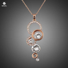$enCountryForm.capitalKeyWord Australia - Wholesale MOZEL Fashion Jewelry Swarovski Elements Rose Gold Plated Pure Clear Simply Small Round Cubic Zirconia Pendant Necklace
