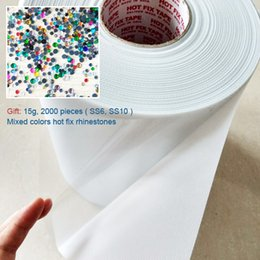 Wholesale 24cm Wide Adhesive Heat Transfer Film Hotfix Tape cm Length DIY tools Motif Rhinestones Iron On Hot Fix Paper