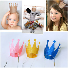 Barato Boné Diy Do Bebê-Boys Girls Crown Happy Birthday Party Hats DIY Paper Crown Cap Baby Princess Paper Hat Party Supplies Novo Creative Atacado 6PCS / set