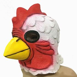 Barato Novo Grande Galo-Atacado 2017 New Halloween Cosplay Funny Big Cock Latex Mask Cosplay Scary Full Face Bird Masks Masquerade Party Chicken Head Mask