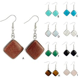 green square crystal earrings Canada - Fashion Square Natural Stone Earrings Crystal Opal Turquoise Gemstone Dangle Earrings Charms Women Gift Jewelry Various colors