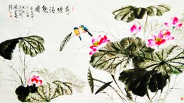 Corner Beds Canada - Mordern Chinese traditional ink famous Painting master hand Authentic corner of Lotus Pond hall  living room bed room decoration