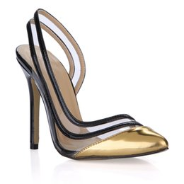 cheap high shoes Australia - Gold Black Women Dress Pumps Summer Style Sandals High Heels Transparent PVC Pointed Toe Ladies Party Shoes High Thin Heels Cheap Modest