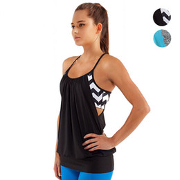 Barato Sutiã Preto Spandex-Black Racerback Yoga camisas com built-in sutiã Womens respirável Sports Running Tank Top Azul Sexy Strappy Sleeveless Fitness T Shirt