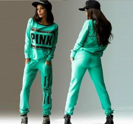 Pantalones Largos Sueltos Baratos-Las ventas calientes Pink Sweat Suits Mujeres con capucha con capucha Set Loose Long Pant Suit Otoño Casual Letter Print Chándales Mujeres Workout Trajes