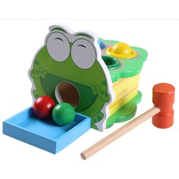 $enCountryForm.capitalKeyWord NZ - Wooden Cartoon Frog Beat Music Montessori Educational Toy For Children Puzzle Oyuncak Baby Fun Montessori Material Sport Blocks