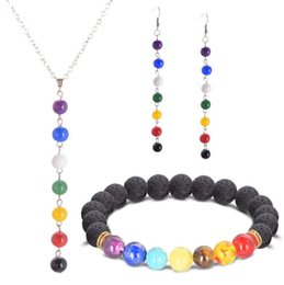 Discount colour stone necklace - 7 Colour Beads Natural Stone Lava Stone 7 Reiki Chakra Healing Balance Beads Bracelet Earrings And Necklace Sets Men Wom