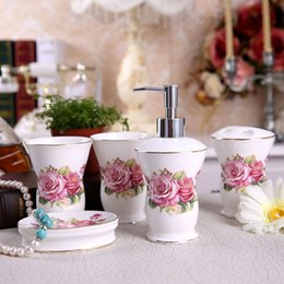 Porcelain Bathroom Sets Ultra Thin Super White Bone China Fowers Design  Five Piece Set Accessories Bathroom Sets Wedding Gifts