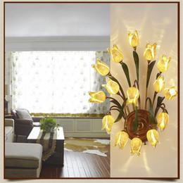 Art Deco Bedside Lamps Canada - Glass Flowers Green Leaves Wall Lamp European Simple Garden Artistic Wall Lamp Bedroom Bedside Aisles Lamp Art Deco Mirror Light
