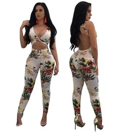 18fba419e8 Cut Out Backless Long Pant Overalls Combinaison Femme Sexy Floral Print V  Neck Sleeveless One Piece Skinny Jumpsuit Women