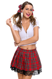 Wholesale Cospaly Sexy costumes for women fantasia girl costume 2017 New Sexy 3pcs Temptress School Girl Costume LC8644
