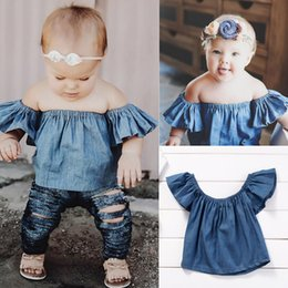 Tops De La Muñeca De Las Muchachas Del Niño Baratos-Mikrdoo Recién Nacido Ropa de Bebé Niños Denim Strapless Top Toddler Doll con Volantes Blusa de Cuello Off Shoulder Tops Encantadores Trajes de Bebé