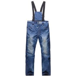 Warm Waterproof Pants Men UK - Wholesale- 2016 New Hot Sales Ski Trousers Unique Denim Suspenders Man Ski Waterproof Breathable Warm Skiing Ski Pants