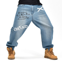 mens printed hip hop jeans Canada - Wholesale-Hip Hop Mens Baggy Pants Denim Printed Jeans Trousers for Mens Skateboard Pants Plus Size 30-46 FS4951