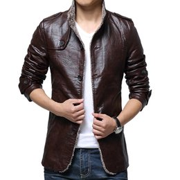 $enCountryForm.capitalKeyWord UK - Winter Leather Trench Coat Men PU Mens Faux Fur Coats 2017 Fashion Slim Fit Motorcycle Leather Jacket Men Overcoat for Men 1013