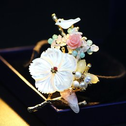 Brooches For Dresses Canada - glass crystal shell freshwater pearl brooch traditional Chinese style brooch pins 18K golden plated high grade lapel pins for women dress