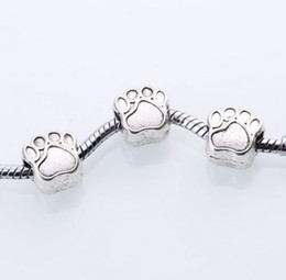 wholesale paw print Australia - 100PCS lot Antique Silver Bear alloy paw print Charms spacer Beads For Jewelry Making 11x8mm hole 4.5mm