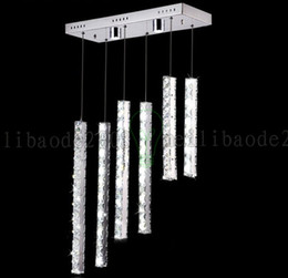 BE47 Creative Fashion Long Strip Stainless Steel LED Restaurant Living Room Chandelier KTV Bar Counter Pendant Lamps Lights Lighting