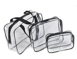 Barato Kit Sacos Transparentes-3PCS / Set Waterproof Transparent Cosmetic Bag Mulheres Portable Toiletry Kits Cosmetic Organizer Brand Make Up Bags Frete grátis