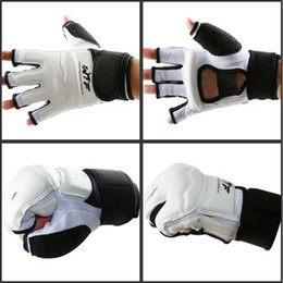 Protector kick boxing online shopping - Fitness Supplies Half Finger Fight Boxing Gloves Mitts Sanda Karate Sandbag TKD Protector for Boxeo MMA Muay Thai Kick Boxing Training Gear