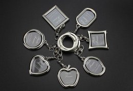 Shape photo frameS online shopping - 6 Designs Couple Heart Round Square Shape Photo Frame Key Chain Photo Keychains Zinc Alloy Key Ring