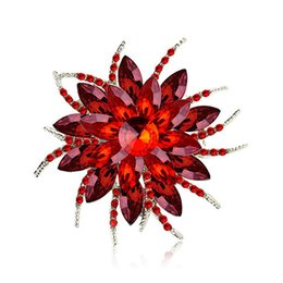 flower corsage brooch UK - Blooming Flowers Design Brooches Pins Corsages Scarf Clips in Crystal Unisex for Women&Men Banquet Wedding