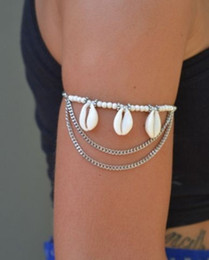 upper arm cuffs NZ - Bohemian beach Natural Shell Upper arm body chains Charm Bracelets jewelry Armbanden Slave Harness Tassels Chain Gold Silver Cuff Armlet
