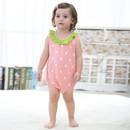 Strawberry Baby Girls Clothing Canada - Easter Gift Summer 2 Style Children Clothing Sets Strawberry Triangle Rompers Casual Jumpsuits For Boys Girls Baby Nice Home Wear