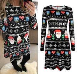 Discount flora costume 2017 Winter Autumn Christmas Dress Women Long Sleeve Christmas Costumes Santa Deer Printed Dresses Women Xmas Party Clothes 5XL size 0213