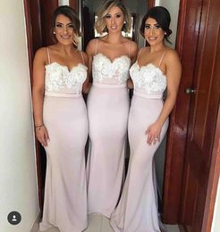 Barato Vestido De Renda Cor-de-rosa-2017 Nova empoeirada Pink Mermaid dama de honra Vestidos Spaghetti Straps Backless Lace Appliques árabe Cheap Maid of Honor Vestidos Custom Made