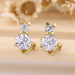 Barato Brincos Crianças Menina-Lovely Cat Crystal Stud Earrings Clear Zircon Anti-Allergic Piercing Stud Brincos para crianças Girl Kid Women Earrings Jewelry