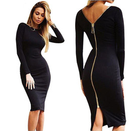 Barato Vestido Zíper Slim Traseiro-Mulheres Sexy Night Club Bodycon Bandage Dress vestidos Cor sólida Senhoras de manga comprida Back Zipper Slim Party Knee Dresses