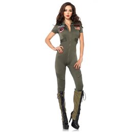 Wholesale sexy women army costumes resale online - New Arrivals Army Green Cool Regimental Policewomen Costumes Sexy Cosplay Halloween SWAT Jumpsuit For Women Hot Selling