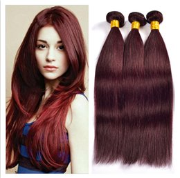 red wine remy hair extensions UK - 9A Virgin Peruvian Burgundy Human Hair Extensions #99J Wine Red 3Bundles Peruvian Silky Straight Virgin Remy Human Hair Weaves DHL Free
