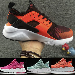 Barato Garotas De Garotas Esportivas-New Kids Air Huarache Sneakers Shoes For Boys Meninas Autênticas All White Childrens Trainers Huaraches Sport Running Shoes Size 28-35